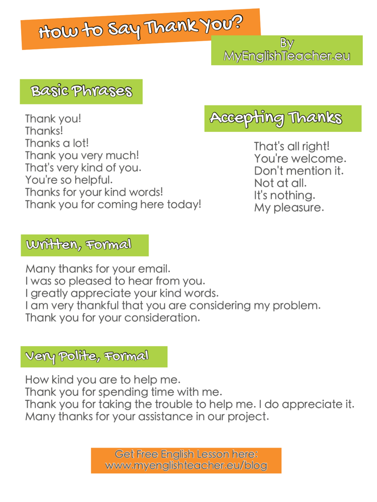 How to say Thank you & how to reply - صور متنوعة